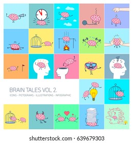 Brain tales volume 2, Vector concept illustrations set of brain in different funny situations | multicolor flat design linear icons set and infographic on colorful background