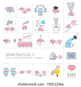 Brain tales volume 3, Vector concept illustrations set of brain and education in different funny situations | multicolor flat design linear icons set and infographic on white background