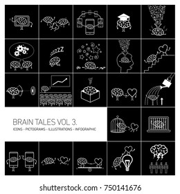 Brain tales volume 3, Vector concept illustrations set of brain and education in different funny situations | multicolor flat design linear icons set and infographic white on black background