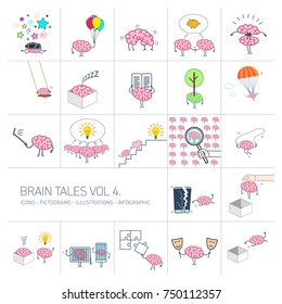 Brain tales volume 4, Vector concept illustrations set of brain and education in different funny situations | multicolor flat design linear icons set and infographic on white background