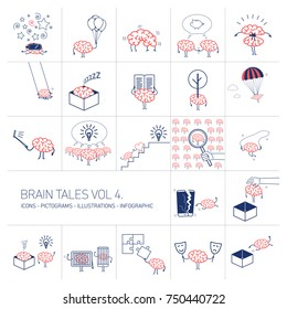 Brain tales volume 4, Vector concept illustrations set of brain and education in different funny situations | multicolor flat design linear icons set and infographic red and blue on white background
