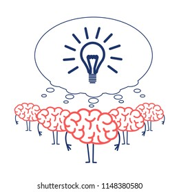 Brain team cooperation. Vector concept illustration of teamwork with on strong idea | flat design linear infographic icon red and blue on white background