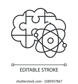 Brain teaser linear icon. Science puzzle, riddle, logic game. Mental exercise. Challenge. Intelligence test. Thin line illustration. Contour symbol. Vector isolated outline drawing. Editable stroke
