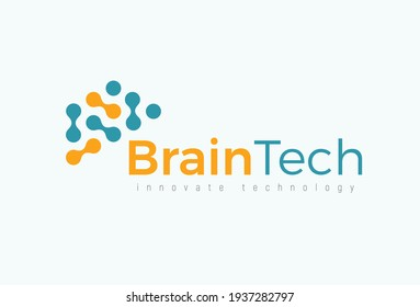 Brain tech logo concept for futuristic science and medical innovate technology. Computer chip icon for digital neural network, dataset, artificial intelligence. Vector logotype