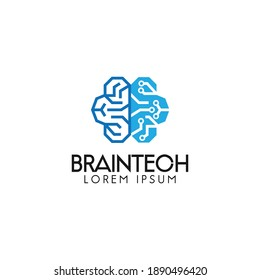 brain tech logo design illustration vector template modern