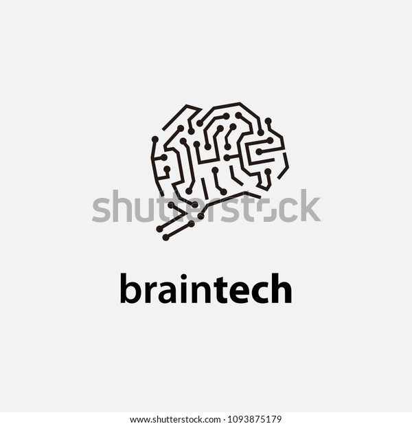 Brain Tech Simple Logo Template Circuit Stock Vector