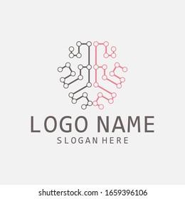 brain technology logo modern, simple and clean .