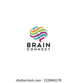 Brain technology logo template, brain connection logo vector icon. digital brain. brain hub logo design. Digital abstract logos for creative innovation.