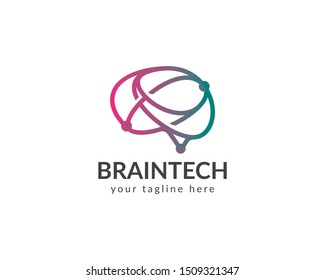 Brain technology logo. vector design template