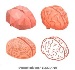 Brain thinking concept background. Isometric illustration of brain thinking vector concept background for web design