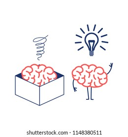 Brain thinking out of the box. Vector concept illustration of brain in the box and out of the box with new idea | flat design linear infographic icon red and blue on white background