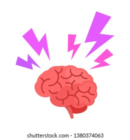 Brain with thunderbolt flashes. Headache, stress, emotional exhaustion. Vector illustration, flat cartoon style. Isolated on white background.