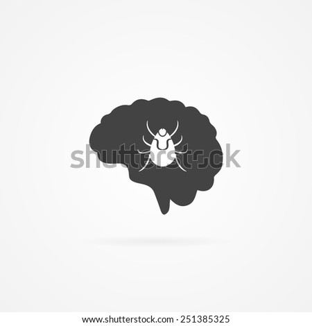 Brain with tick inside icon. Lyme disease. Isolated on white background.