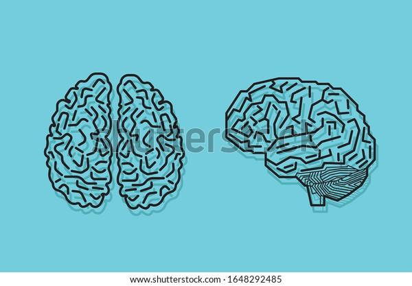 side vector circboard wiring diagram brain top side view digital human stock vector  royalty free  side view digital human stock vector