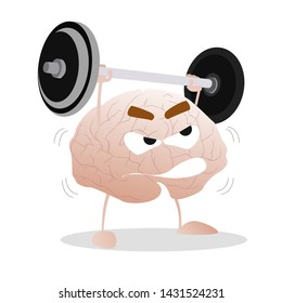 Brain training with barbell. Brain intelligence, mind sport weight, exercise workout for knowledge. Vector illustration