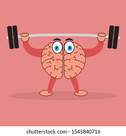 Brain training - barbell lifting. Exercising cartoon brain concept. Vector image in flat style.