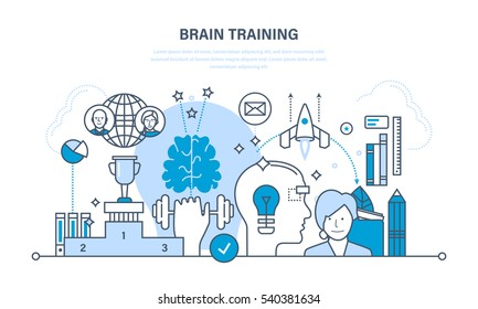 Brain training, brainstorming and creative thinking, modern education, start up, training, and success in business. Illustration thin line design of vector doodles, infographics elements.