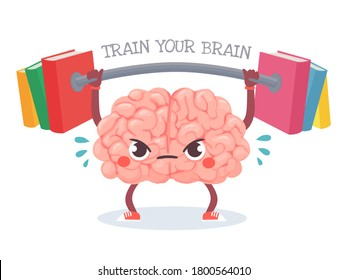 Brain training. Cartoon brain lifts weight with books. Train your memory, studying, learning and knowledge education vector concept. Character sweating with barbell, workout for mind