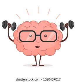 Brain training with dumbbells and glasses on white background, human train intellect, mind workout, knowledge fitness exercises, lifting weights, cartoon education and Brainstorm concept. Vector