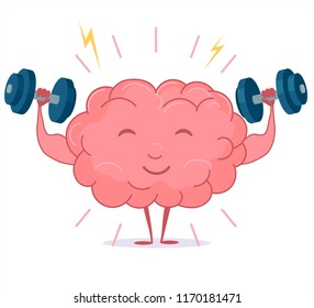 Brain training with dumbbells on white background, human train intellect, mind workout, knowledge fitness exercises, lifting weights, cartoon education and Brainstorm concept. Vector
