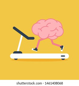 Brain training with treadmill running flat design. Creative idea concept, vector illustration