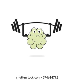 Brain training vector illustration, brain power, brain learning, education, hard working, thinking exercise, cartoon face, physical sport, hands muscles simple flat outline design isolated on white