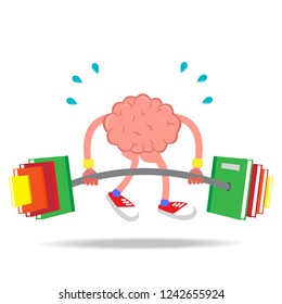 Brain training Weight lifting ideas with books with knowledge Flat pattern isolated from white background. Vector illustrations