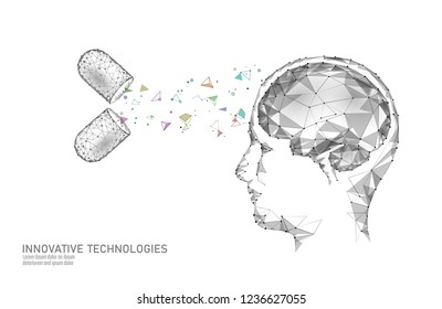 Brain treatment low poly 3D render. Drug nootropic human ability stimulant smart mental health. Medicine cognitive rehabilitation in Alzheimer disease and dementia patient vector illustration