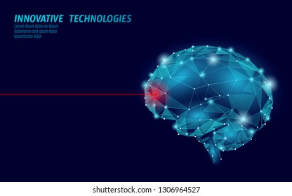 Brain treatment low poly 3D render. Medicine cognitive laser rehabilitation in Alzheimer disease and dementia vector illustration