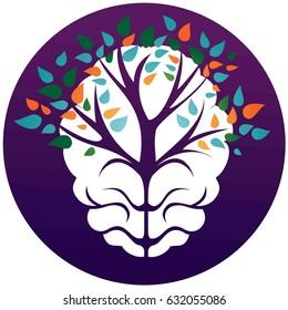 Brain tree in circle. logo, icon