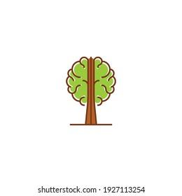 Brain tree, think green, nature brain life. Vector logo icon template