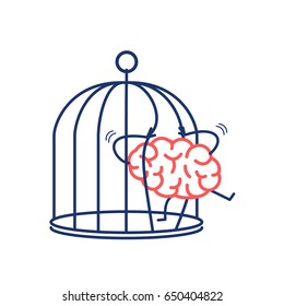 Brain trying open the grids to escape from cage. Vector concept illustration of free mind escaping out of the prison | flat design linear infographic icon red and blue on white background