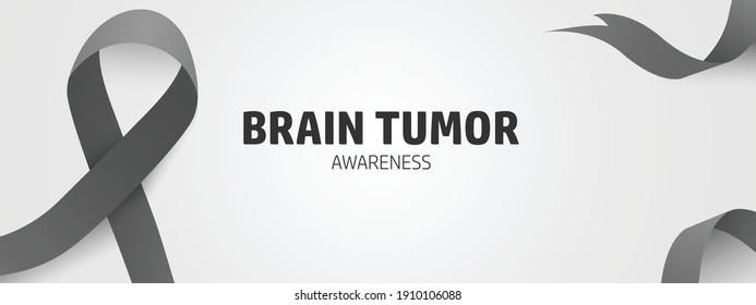 Brain tumor awareness concept banner design. Black ribbon for brain tumor symbol isolated in white. March for brain tumor awareness.