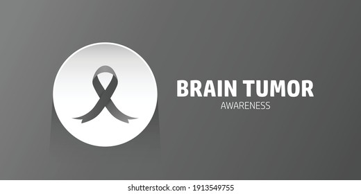 Brain tumor awareness concept banner design. Black ribbon vector in white circle badge isolated in black background. Good for background, banner, poster, campaign.
