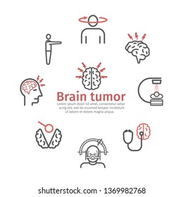 Brain Tumor Cancer banner. Symptoms. Vector signs