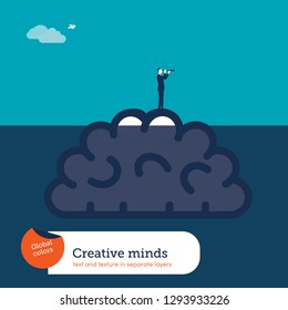 Brain under water and businessman with spyglass helping with new creative ideas.