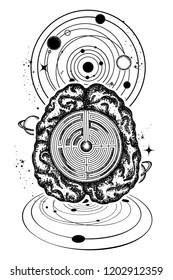 Brain and universe tattoo art. Symbol of psychology, philosophy, creativity, intelligence