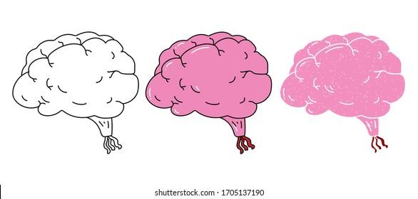 brain vector design. black and white. digital hand drawn. grain texture