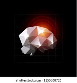 Brain vector illustration. Pain source, headache, polygonal design. Brain disease, lowpoly icon. Red circles on crystal brain. Neuron impulse, logo template