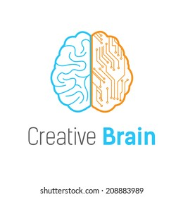 Brain vector logo design template
