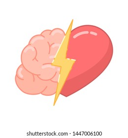 Brain versus the heart icon. The concept of choice between feelings and logic. Vector illustration isolated on white background
