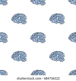 Brain in the virtual reality icon in cartoon style isolated on white background. Virtual reality symbol stock vector illustration.