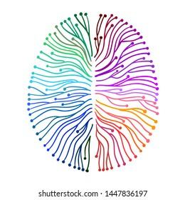 Brain waves or currents - Neuroscience - Hand drawn symbolic illustration