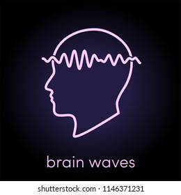Brain waves vector concept, simple outline icon