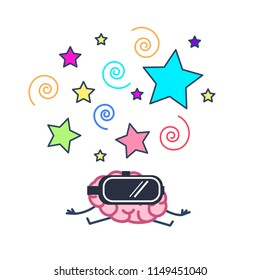 brain wearing virtual reality goggles. Vector concept illustration of mind inside virtual reality | flat design linear infographic icon colorful on white background