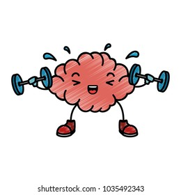 brain with weight lifting kawaii character