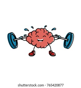 brain with weight lifting kawaii character