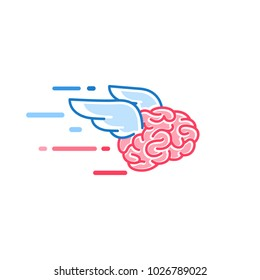 The brain with wings flies vector illustration. Brains of the dreamer