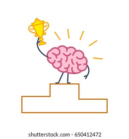 Brain winner. Vector concept illustration of best brain champion with golden goblet on winners platform   flat design linear infographic icon colorful on white background