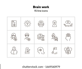 Brain work line icon set. Human head, gear, psychologist office. Psychology concept. Can be used for topics like psychoanalysis, mental activity, science